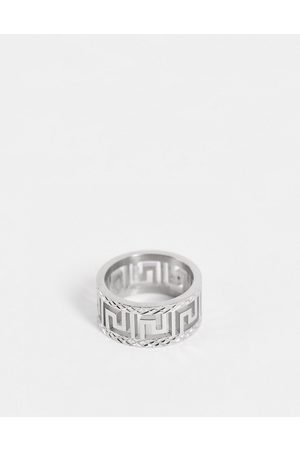 ASOS Stainless steel band ring with greek wave cut out design in silver tone