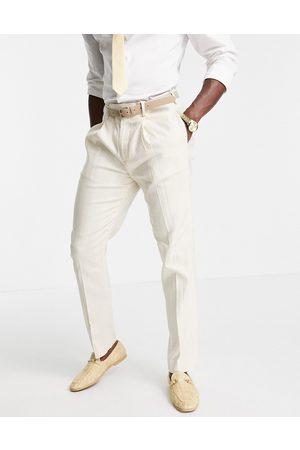 ASOS Homem Calças Justas - Wedding linen slim suit trousers with wide stripe in stone-Neutral