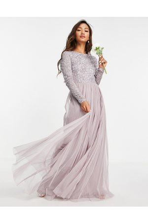 Maya Senhora Vestidos de Festa - Bridesmaid long sleeve maxi tulle dress with tonal delicate sequins in lilac grey