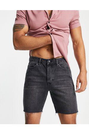 Topman Homem Calções - Slim denim shorts in washed black