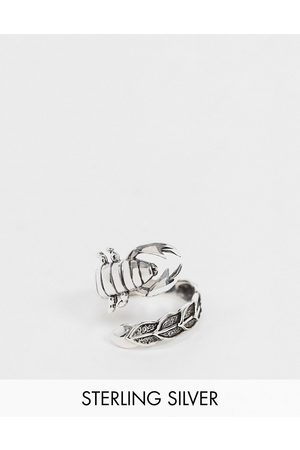 ASOS Homem Anéis - Sterling silver ring with wraparound scorpion in burnished silver
