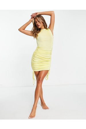 ASOS DESIGN Ruched midi beach dress in yellow slinky texture