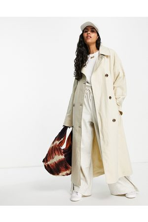 ASOS Slouchy trench coat in washed stone-Green