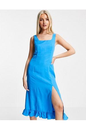 Urban Revivo Ruffle hem midi dress in blue