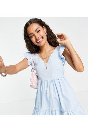 Miss Selfridge Petite Poplin frill sleeve mini dress in baby blue