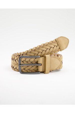 New Look Braided weave belt in stone-Neutral
