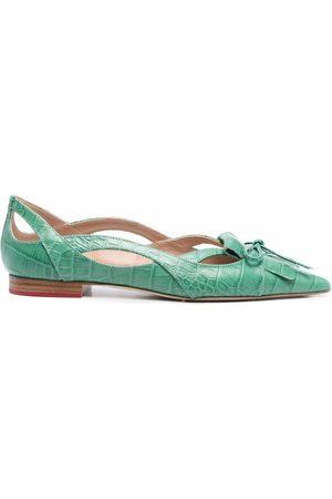 Scarosso Spicy crocodile-effect ballerina shoes