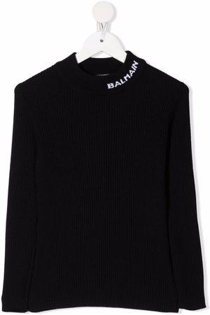 Balmain Menina Camisolas - Logo-detail knitted jumper