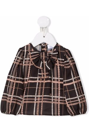 Elisabetta Franchi La Mia Bambina Bebé Blusas - Checked pussy-bow blouse