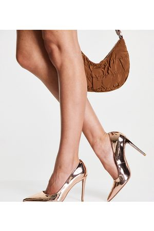 ASOS Senhora Salto Alto - Wide Fit Penza pointed high heeled court shoes in rose gold