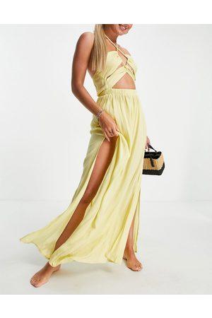ASOS DESIGN Senhora Vestidos Compridos - Cut out maxi beach dress in yellow