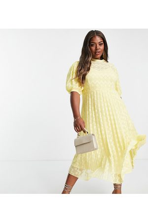 ASOS Curve ASOS DESIGN Curve high neck pleated chevron dobby midi dress with puff sleeve in yellow