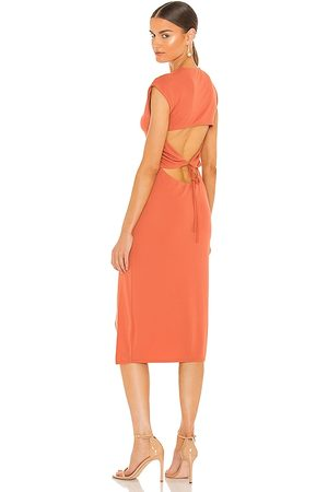NBD Cousteau Midi Dress in - Coral. Size L (also in XXS, XS, S, M, XL).