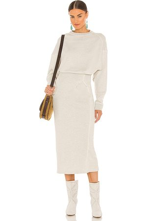 Isabel Marant Meg Midi Dress in - Light Grey. Size 34/2 (also in 36/4, 38/6, 40/8, 42/10).