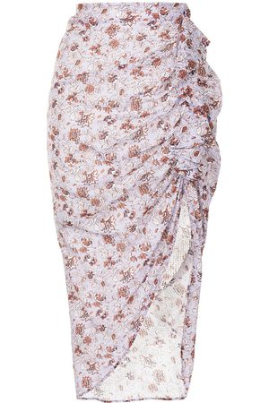 VERONICA BEARD Senhora Saias Estampadas - Asymmetric floral ruffle skirt