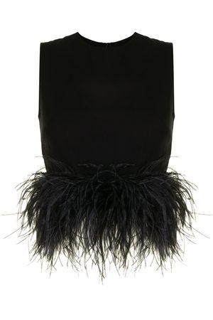 16Arlington Dickinson feather-trim blouse