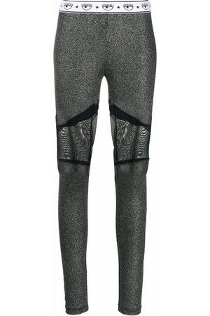 Chiara Ferragni Glittered sheer-panel leggings