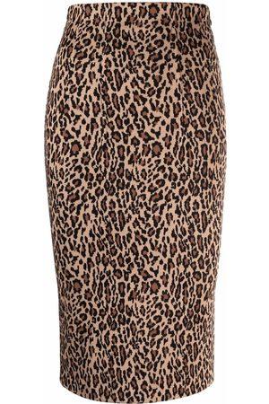 Pinko Senhora Saias Estampadas - Leopard print pencil skirt