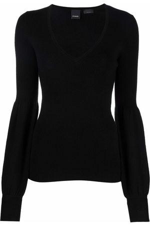 Pinko Puff-sleeve v-neck sweater