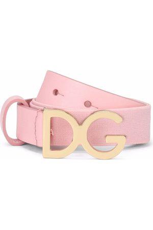Dolce & Gabbana Menina Cintos - Logo-buckle leather-trim belt