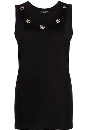 Dolce & Gabbana Senhora Tops de Cavas - Logo plaque sleeveless top