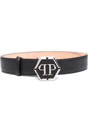 Philipp Plein Senhora Cintos - Logo-plaque leather belt