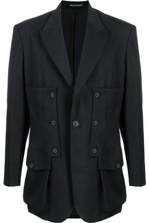 YOHJI YAMAMOTO Homem Blazers - Buttoned panelled wool blazer