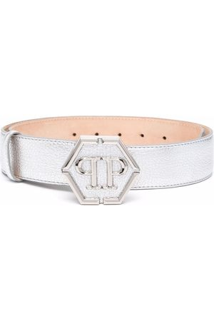 Philipp Plein Senhora Cintos - Logo-plaque metallic belt
