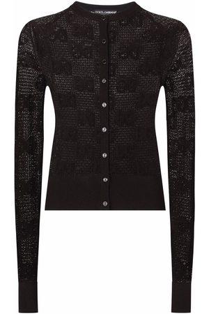 Dolce & Gabbana Senhora Camisolas - Open-work jacquard logo cardigan