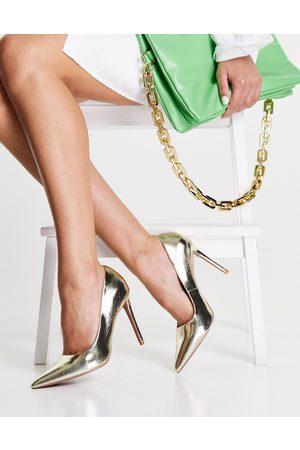 ASOS Senhora Salto Alto - Penza pointed high heeled court shoes in gold