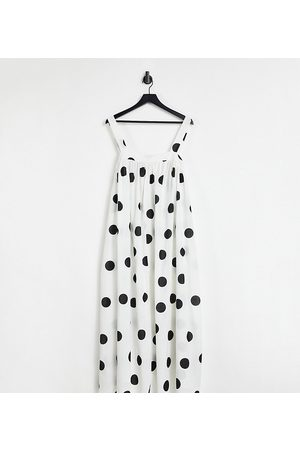 ASOS Senhora Vestidos Estampados - ASOS DESIGN Curve trapeze maxi dress in oversized mono spot print-Multi