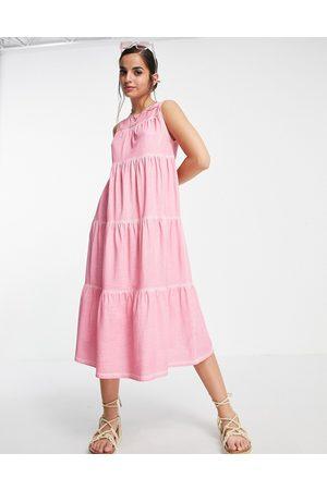 ASOS Senhora Vestidos Casual - Sleeveless tiered midi smock dress in acid wash pink