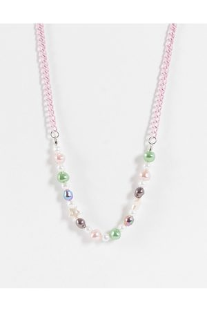 ASOS Homem Colares - Beaded neckchain with faux pearl and colourful beads in pink tone