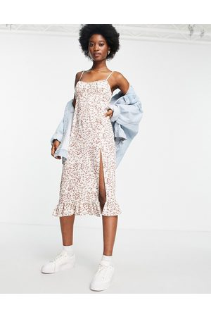 Miss Selfridge Senhora Vestidos Casual - Ruched bust midi slip dress in leopard print-Brown