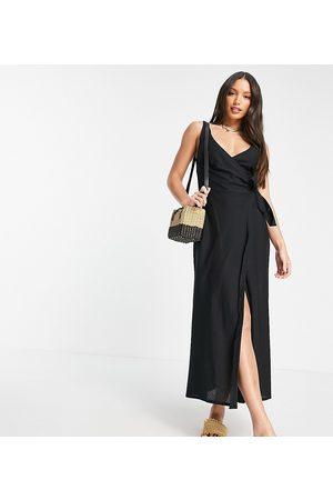 ASOS Senhora Vestidos Compridos - ASOS DESIGN Tall linen wrap maxi dress in black