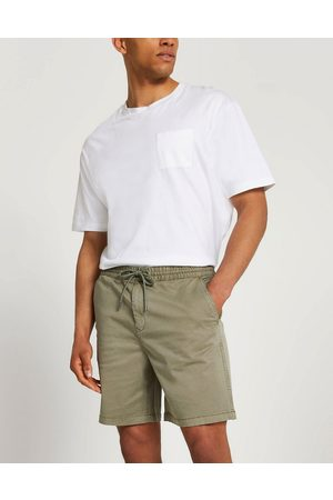River Island Homem Calções - Pull on chino shorts in washed green