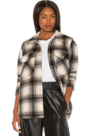 BLANK NYC Plaid Shacket in - Charcoal,Neutral. Size L (also in M, S, XS).