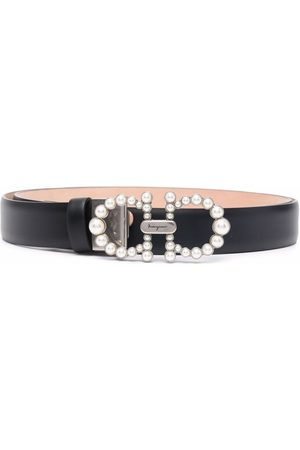Salvatore Ferragamo Senhora Cintos - Pearl embellished Gancini buckle belt