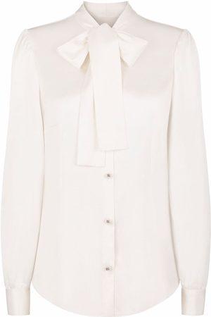 Dolce & Gabbana Pussy-bow stretch-silk blouse