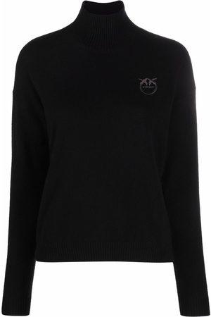Pinko Embroidered-logo turtleneck sweater