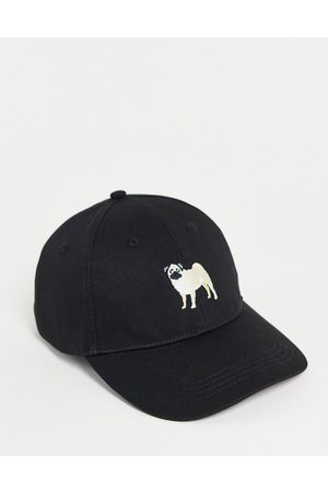 ASOS Homem Chapéus - Baseball cap in black with dog embroidery
