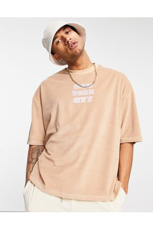 ASOS Oversized towelling t-shirt in beige with New York city embroidery-Neutral