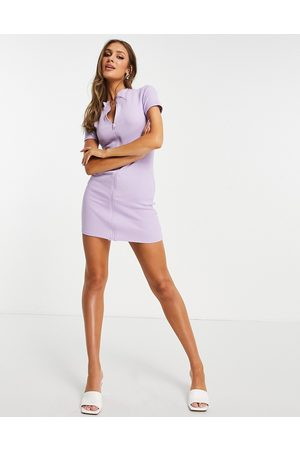 I saw it first Zip through high neck dress in lilac-Purple