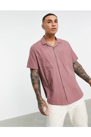 ASOS Homem Casual - Linen look relaxed revere collar shirt in taupe-Brown