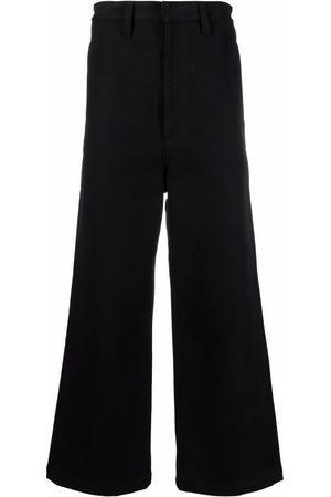 Ami Homem Calças à Boca-de-sino - Logo patch wide-leg trousers