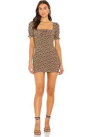 MAJORELLE Lexi Smocked Mini Dress in - Brown. Size L (also in M, S, XL, XS, XXS).