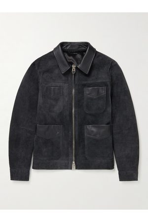 Tom Ford Slim-Fit Leather-Trimmed Suede Field Jacket