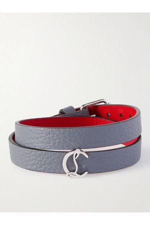 Christian Louboutin Homem Pulseiras - Silver-Tone and Full-Grain Leather Wrap Bracelet
