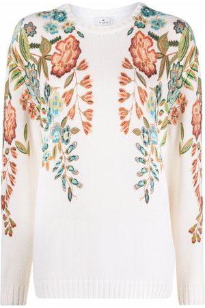 Etro Senhora Camisolas sem capuz - Floral-print long-sleeved sweater