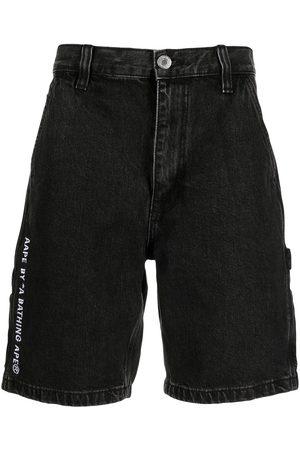 AAPE BY A BATHING APE Homem Calções - Logo embroidered denim shorts